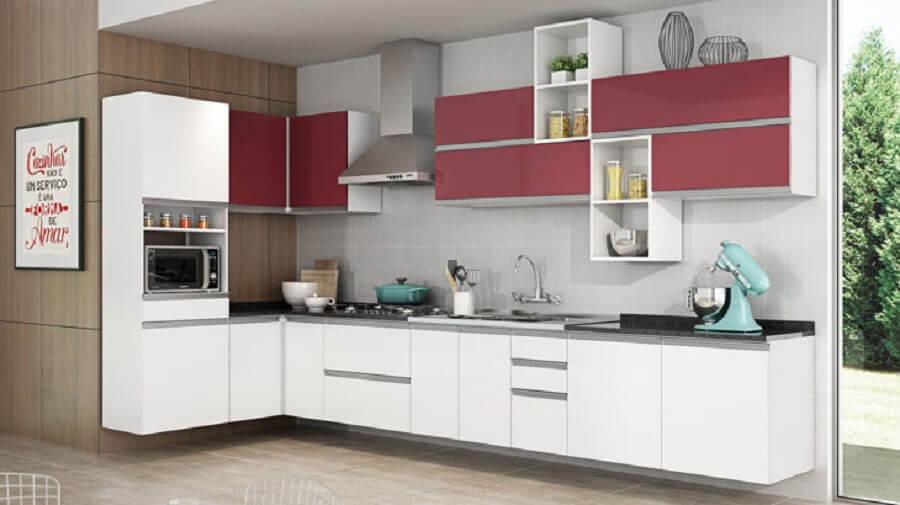 cozinha modulada de canto branco e vinho Foto Pinterest
