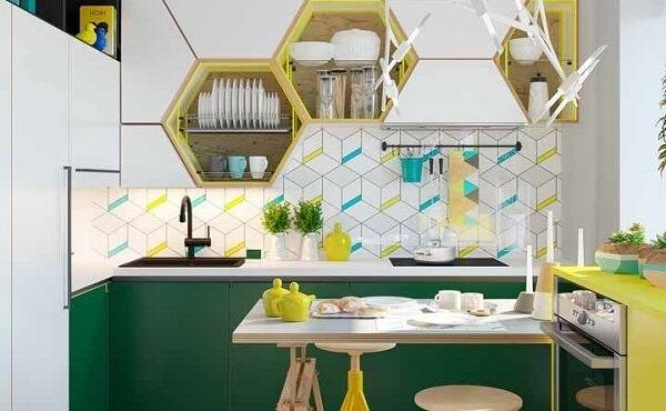 cozinha vintage amarela e verde