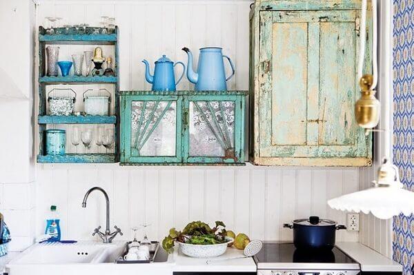 cozinha vintage armário suspenso