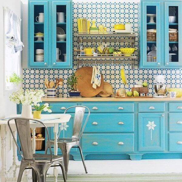 cozinha vintage azul armários
