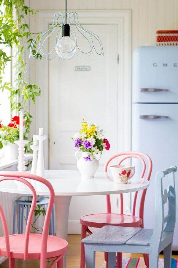 cozinha vintage candy rosa e azul