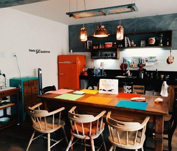 cozinha vintage colorida