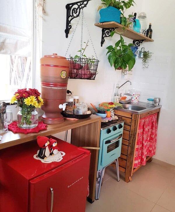cozinha vintage geladeira vermelha