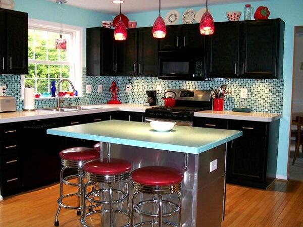 cozinha vintage moderna vermelha e verde