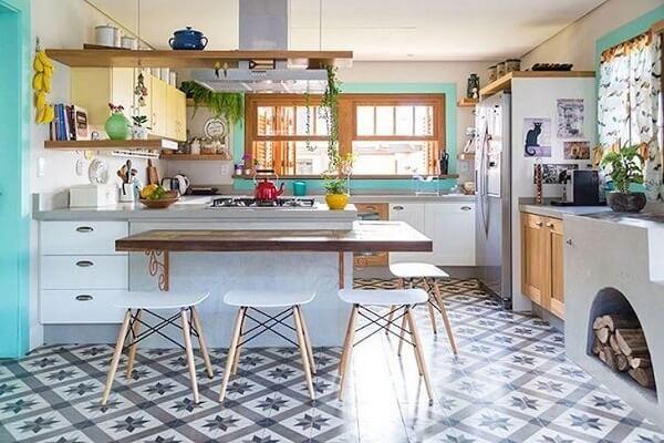 cozinha vintage piso estampado