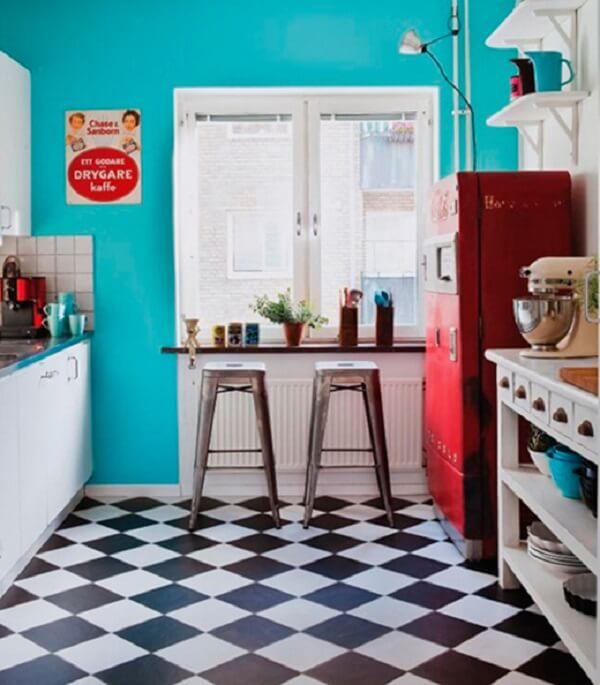 cozinha vintage piso xadrez