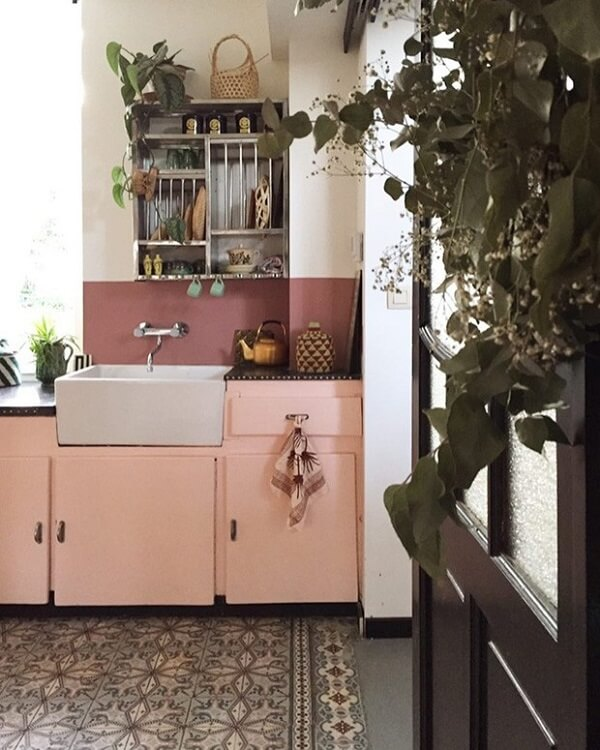 cozinha vintage rosa