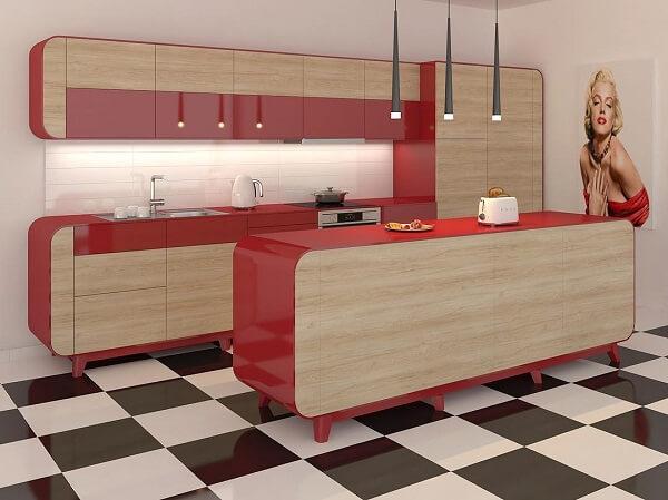 cozinha vintage vermelha piso xadrez