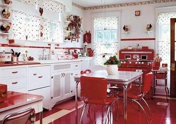 cozinha vintage vermelha e branca