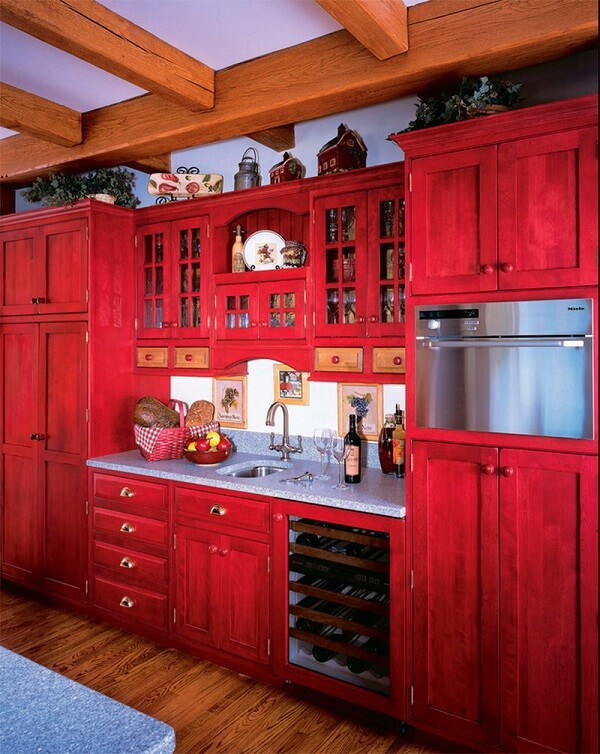 cozinha vintage armários vermelhos