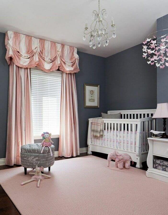 decoração cinza e rosa para quarto de menina bebê Foto Merigo Design