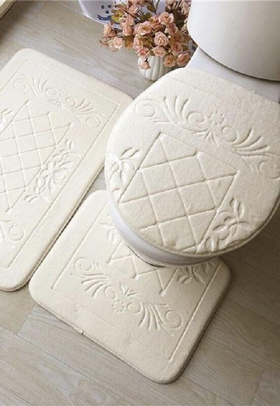 decoração clean com jogo de banheiro branco Foto Home Fashion Trend