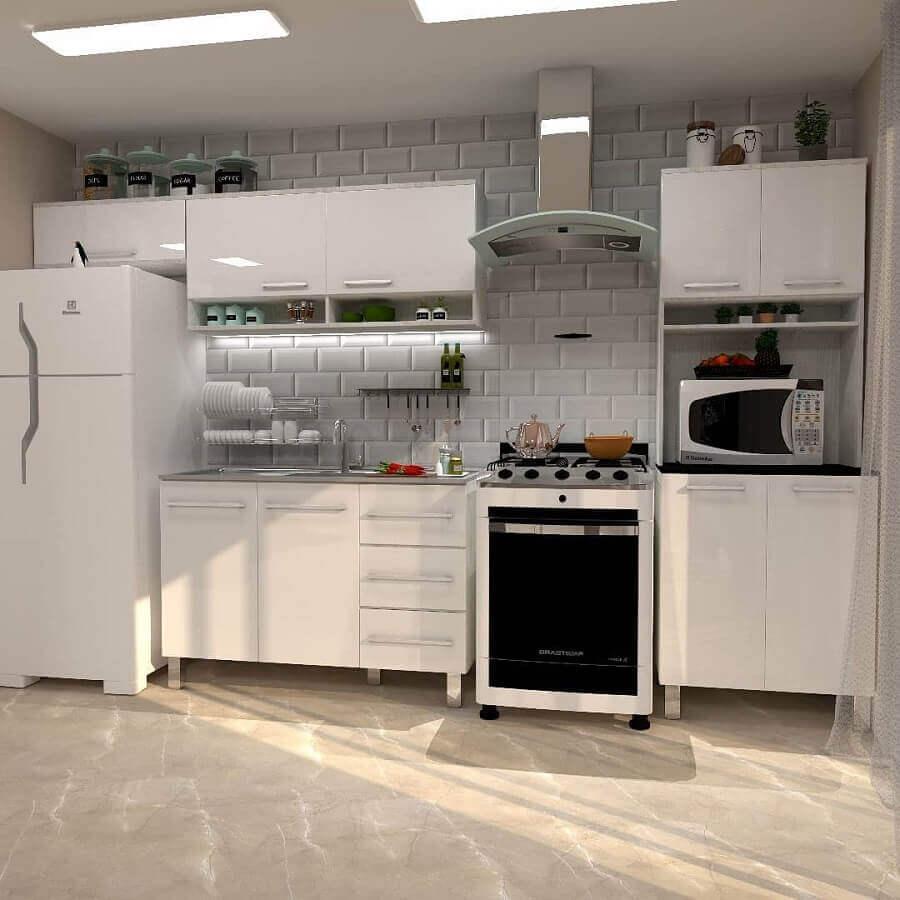 decoração clean para cozinha modulada branca Foto Dekora Casa