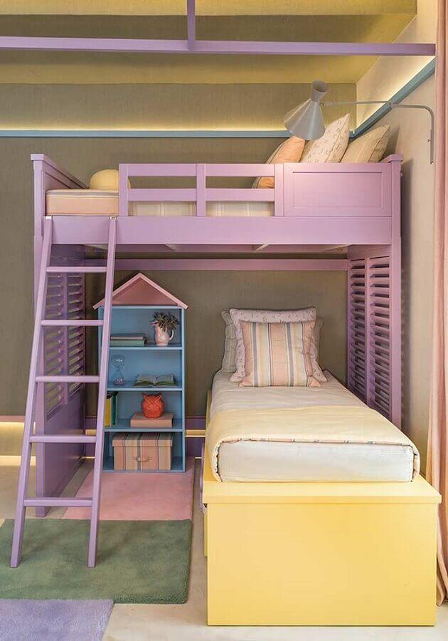 decoração colorida para quarto de menina planejado com cama suspensa Foto Quartos Etc