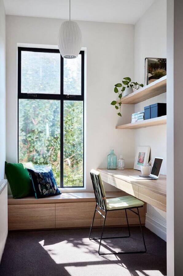 decoração com bancada de madeira para escritório em casa planejado Foto Home Fashion Trend