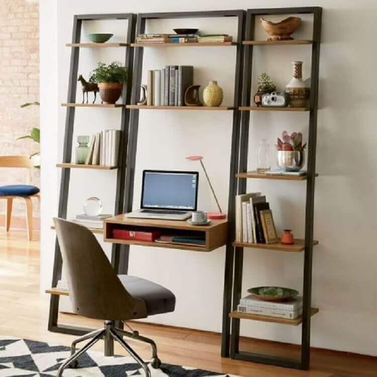 decoração com estante com escrivaninha Foto Home Inspirations