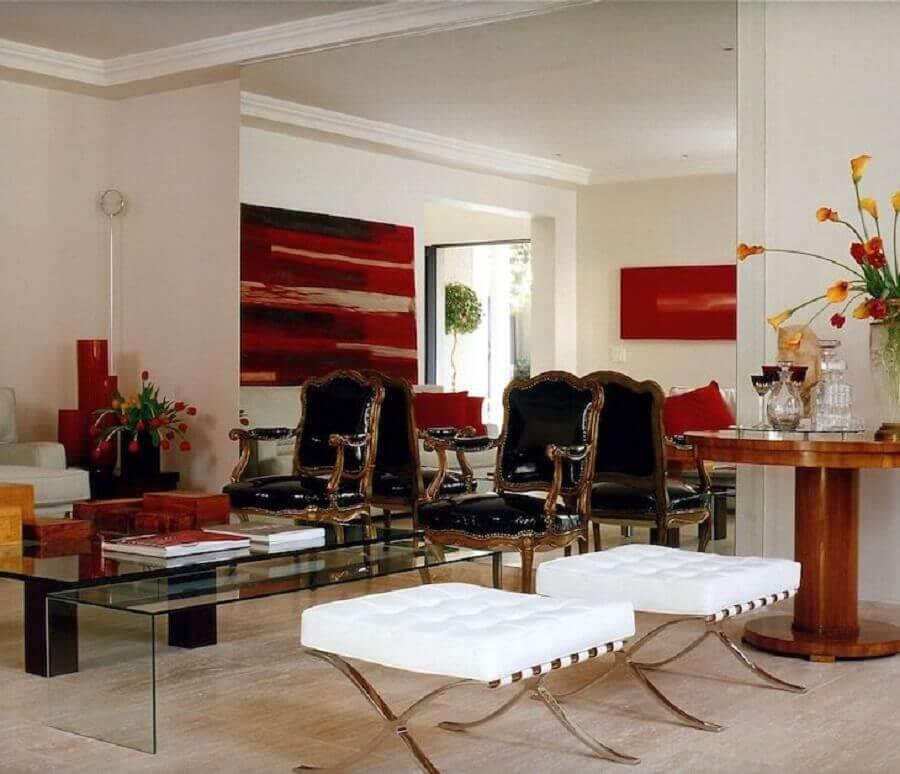 decoração com quadro abstrato vermelho Foto Brunete Fraccaroli