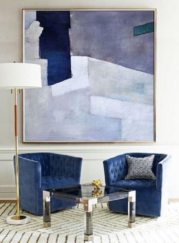 decoração com quadro abstrato azul em vários tons Foto Pinterest
