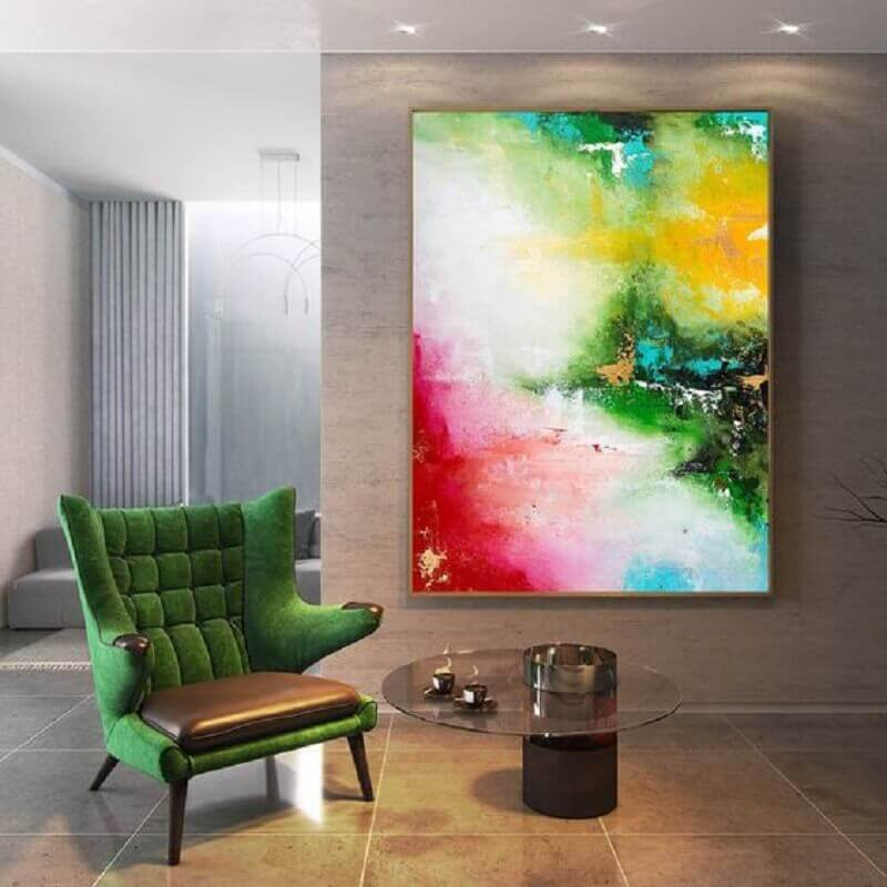 decoração com quadro abstrato colorido e poltrona verde Foto Pinterest