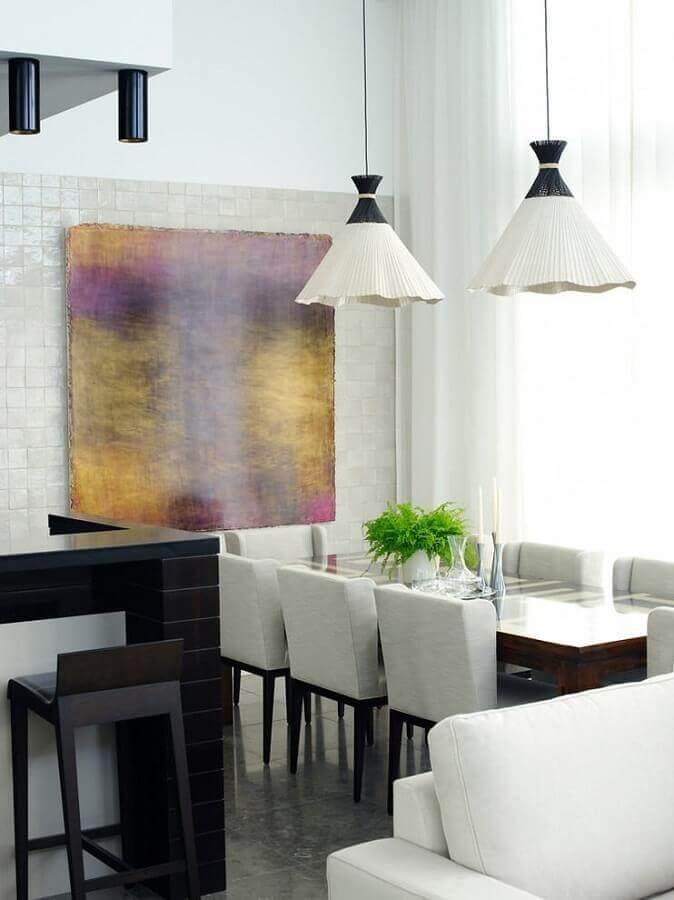 decoração com quadro abstrato moderno para sala de jantar branca e cinza Foto Pinterest