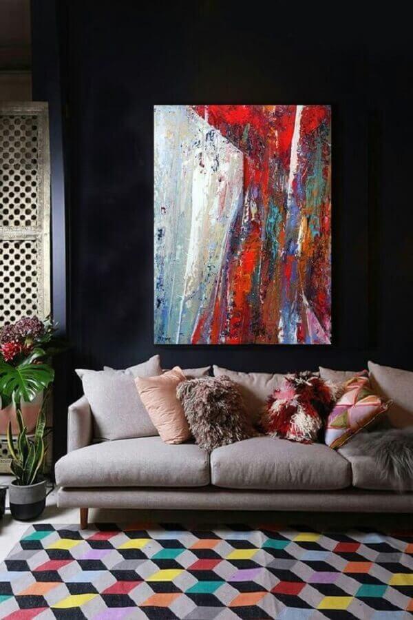 decoração com tapete colorido e quadros para sala abstrato Foto Artfinder
