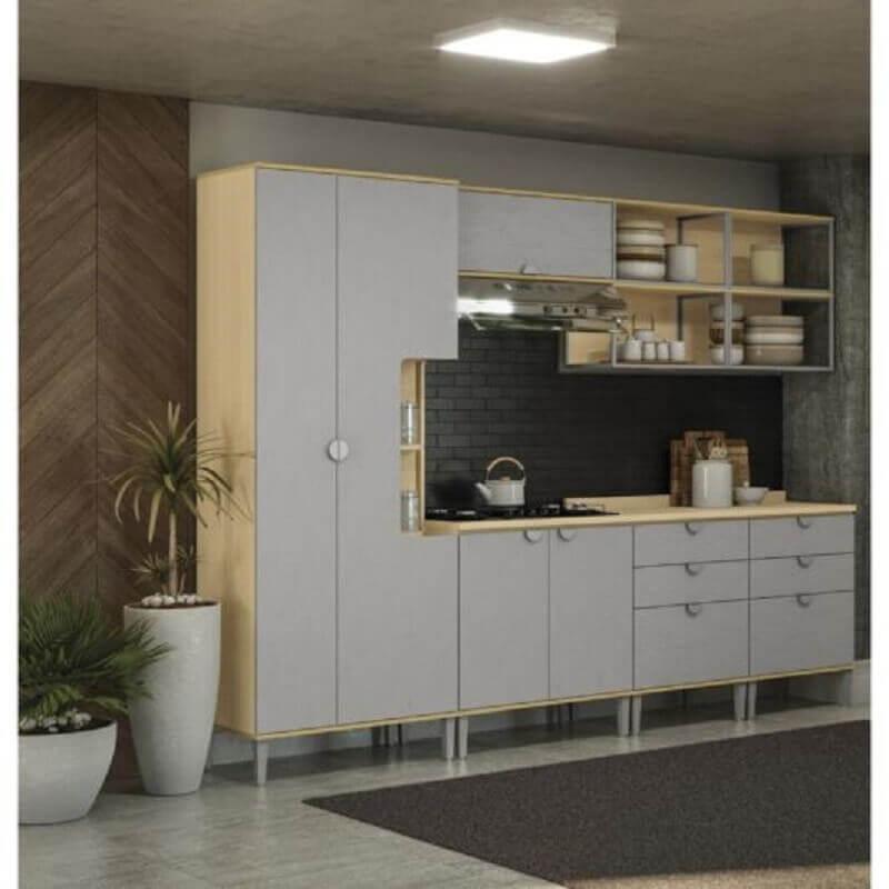 decoração cozinha modulada cinza com detalhes em madeira Foto Futurist Architecture