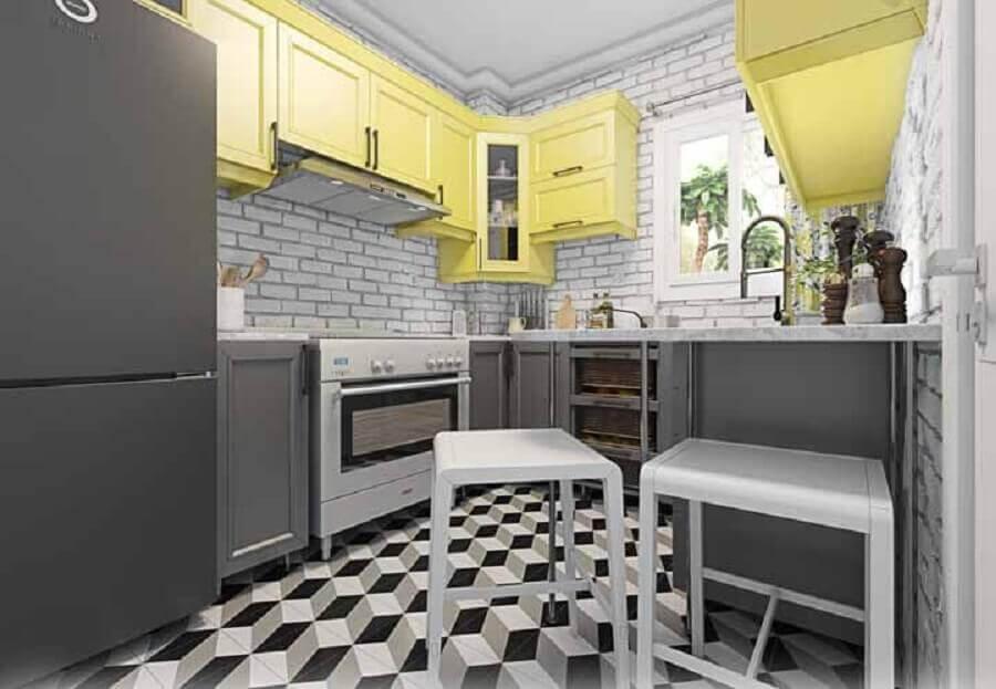 decoração cozinha modulada cinza e amarela Foto Webcomunica