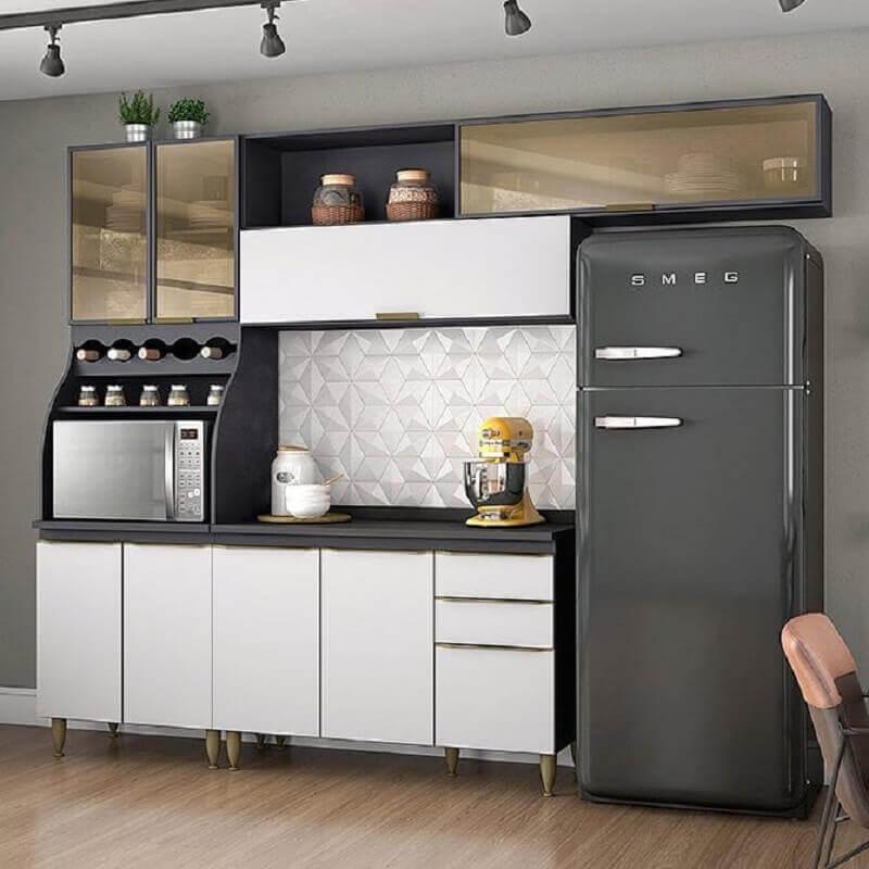 decoração cozinha modulada cinza e branca Foto Pinterest