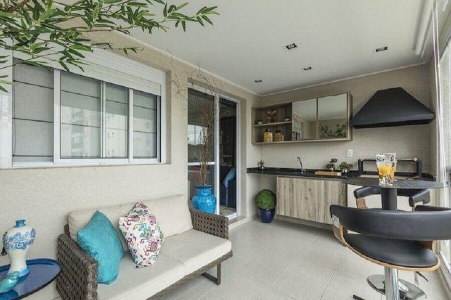 decoração de apartamento com área gourmet simples Foto Ricardo Lopes