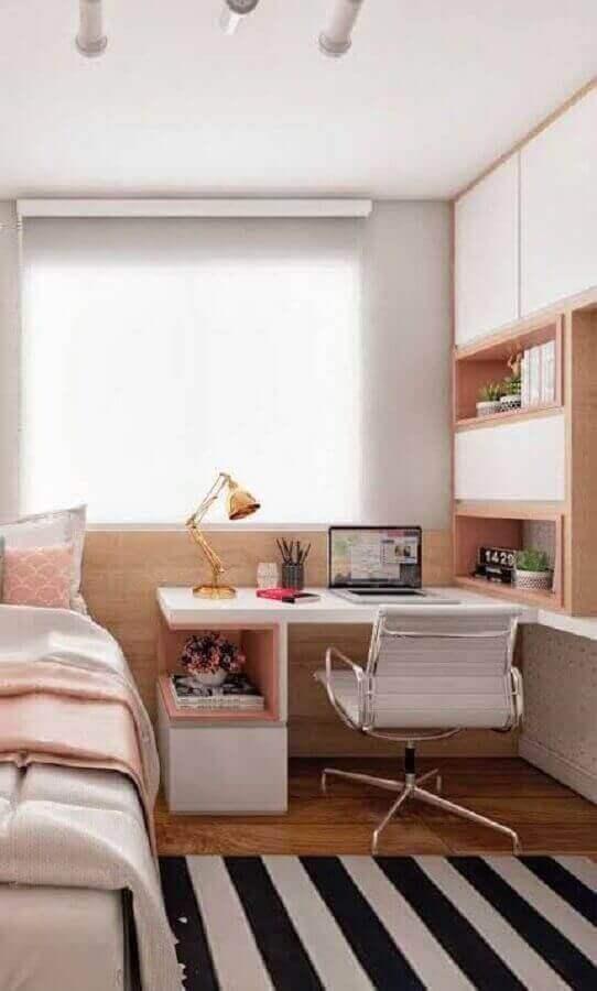 decoração de cantinho de estudo pequeno para quarto feminino planejado Foto Pinterest
