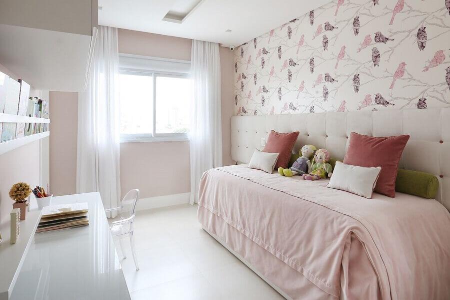 decoração de quarto de criança menina branco e rosa Foto Renata Popolo