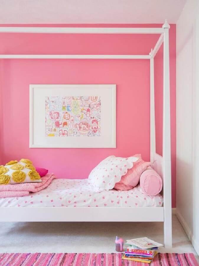 decoração de quarto de menina branco e rosa Foto Yandex