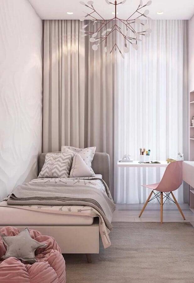 decoração de quarto de menina cinza e rosa com bancada de estudos Foto Ideias Decor