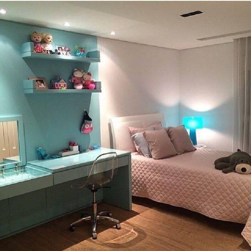 decoração de quarto de menina planejado azul e rosa Foto Laura Rocha