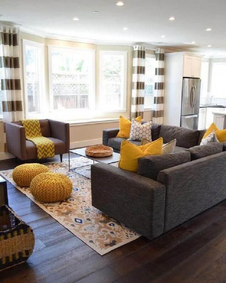 decoração de sala amarela e cinza Foto Home Decorating Idea