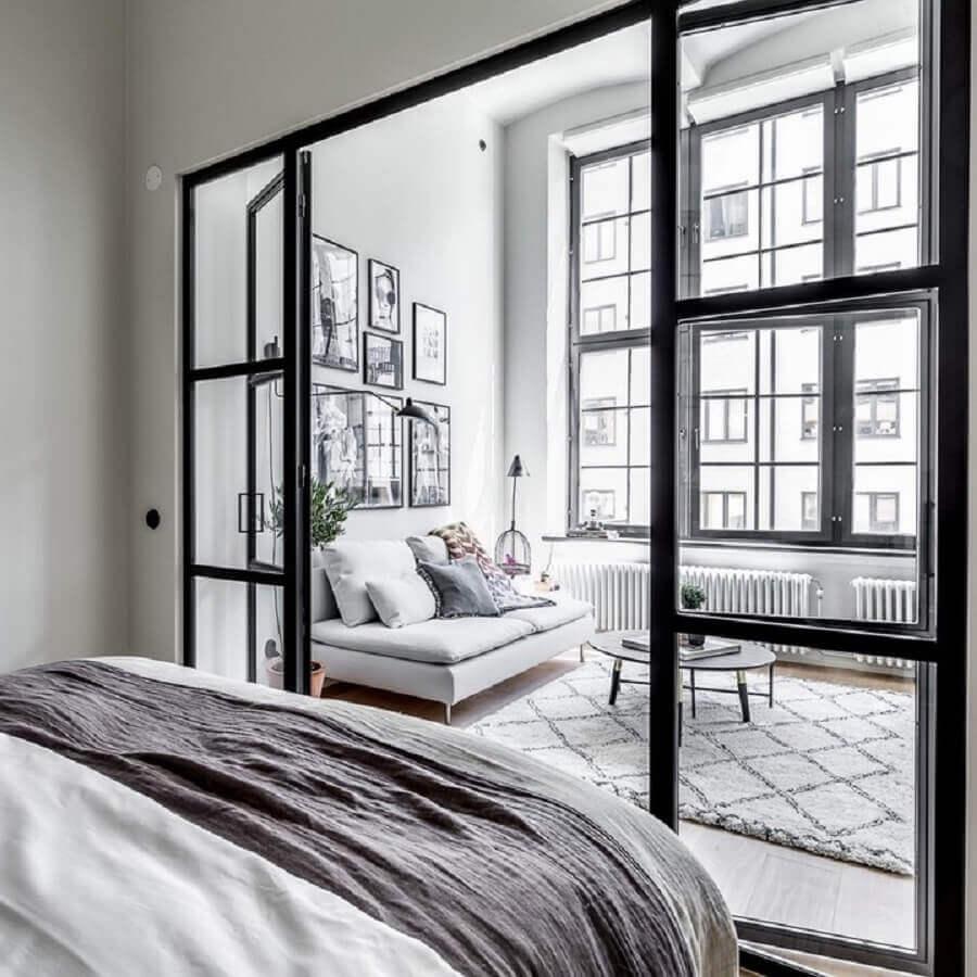decoração de sala e quarto com porta francesa de vidro e alumínio Foto Pinterest