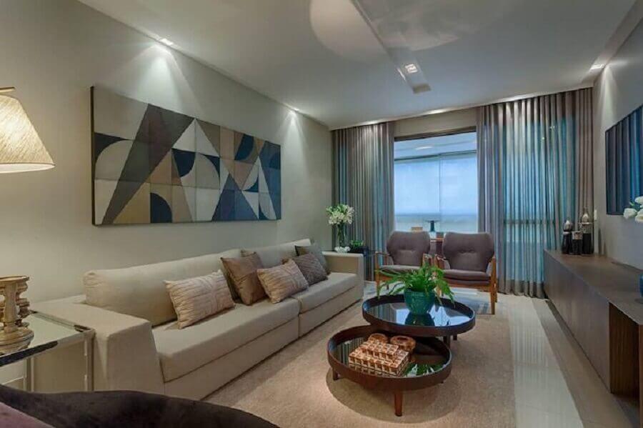 decoração de sala em tons neutros com quadro abstrato grande Foto Renata Basques
