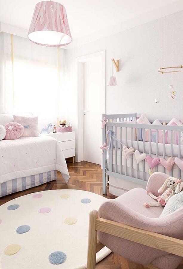 decoração em tons pastéis para quarto de menina bebê Foto ArchZine