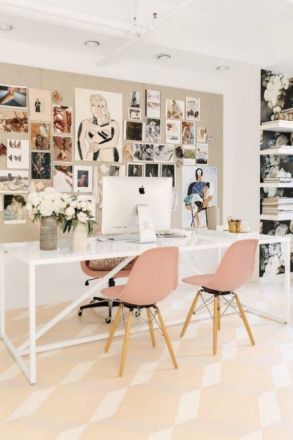 decoração feminina com mesa de escritório branca Foto Fashion Trend Decor