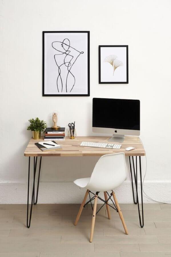 decoração minimalista para escritório em casa pequeno Foto Pinterest