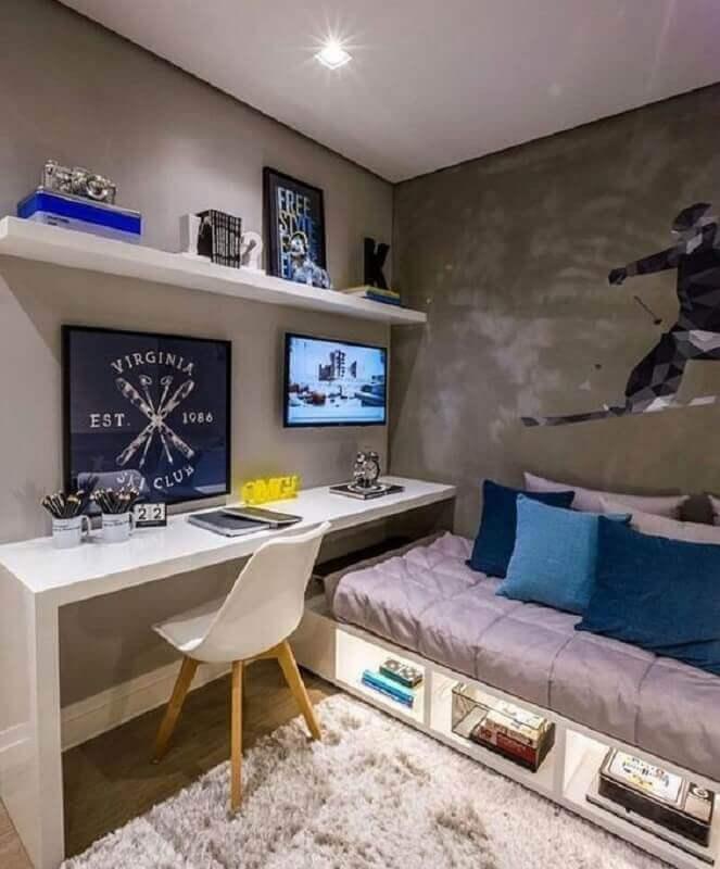 decoração moderna com bancada branca para cantinho de estudo no quarto Foto Pinterest