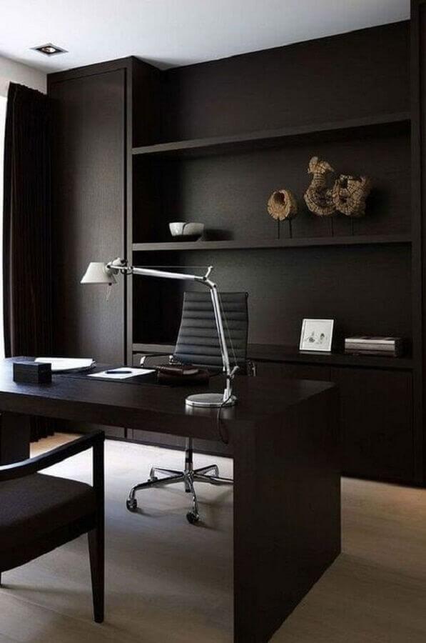 decoração moderna com mesa de escritório preta Foto Behance