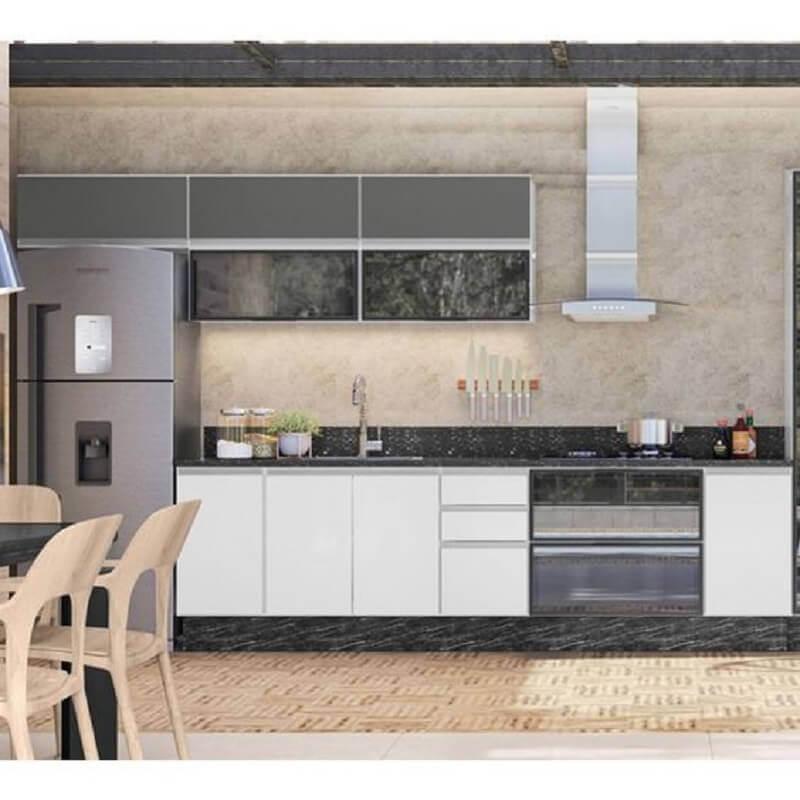 decoração moderna para cozinha modulada cinza e branca Foto Pinterest