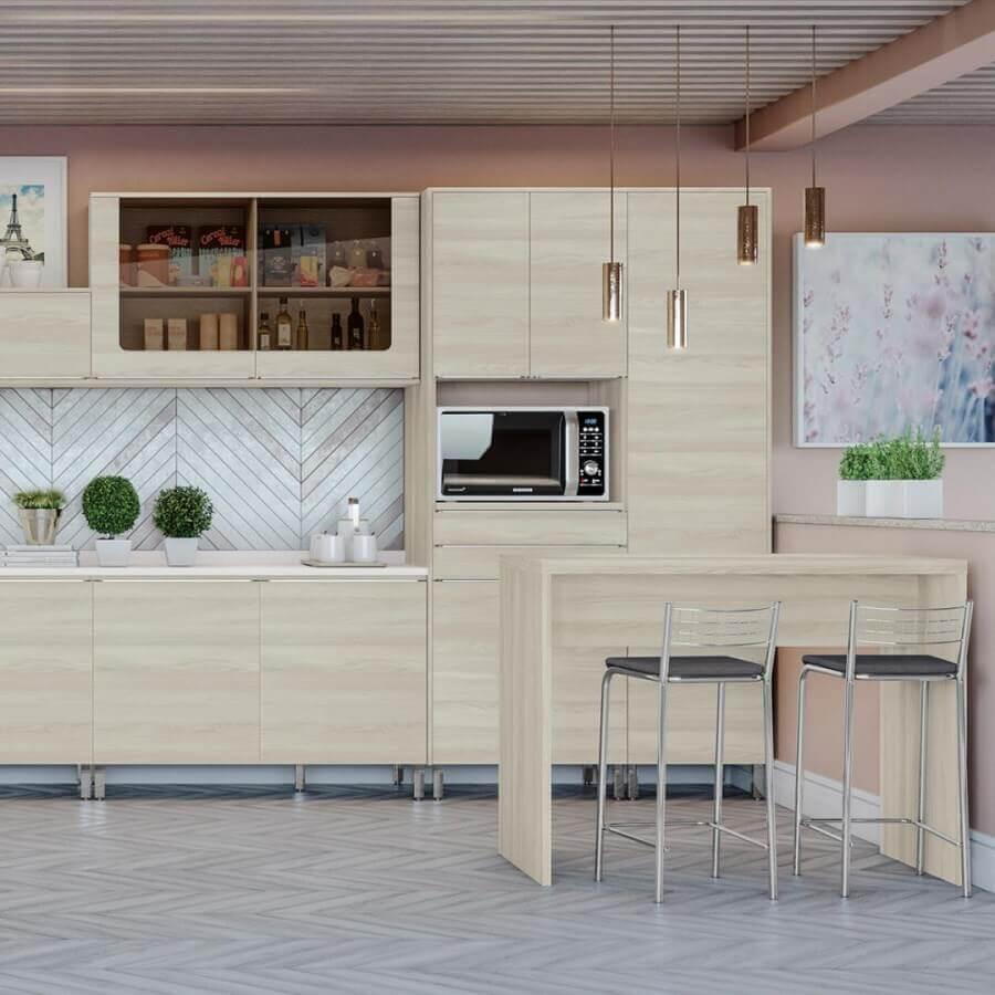 decoração para cozinha modulada com bancada de madeira Foto Dicas Decor