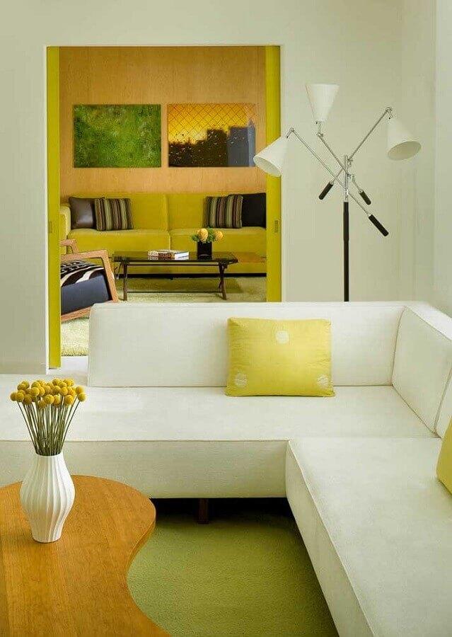 decoração para sala amarela e branca moderna Foto Houzz