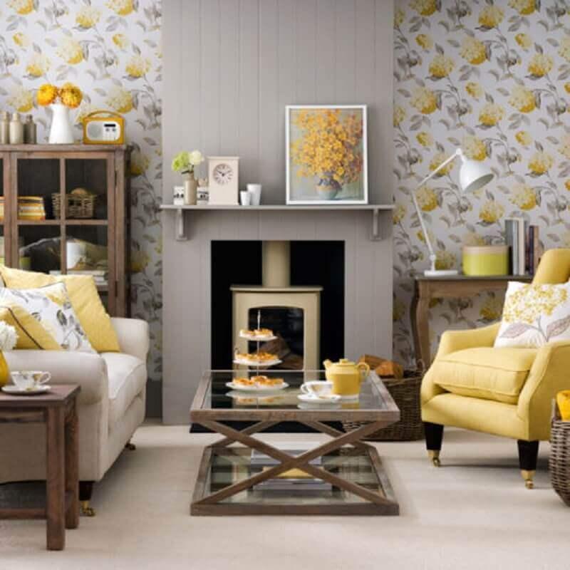 decoração para sala amarela e cinza Foto Homedit