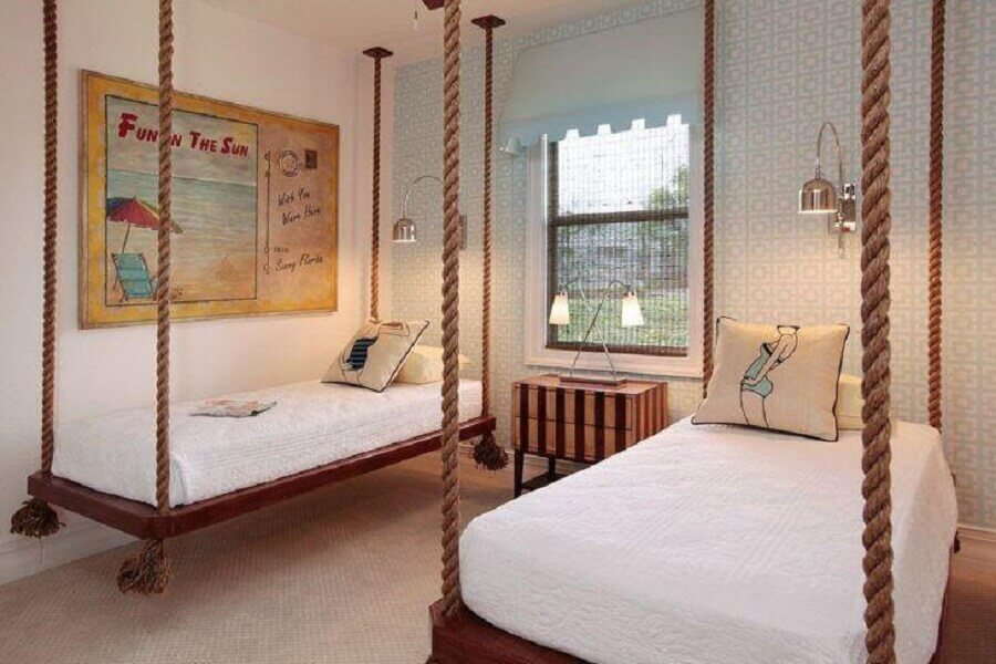 decoração rústica para quarto de menina compartilhado com camas suspensas Foto Pinterest