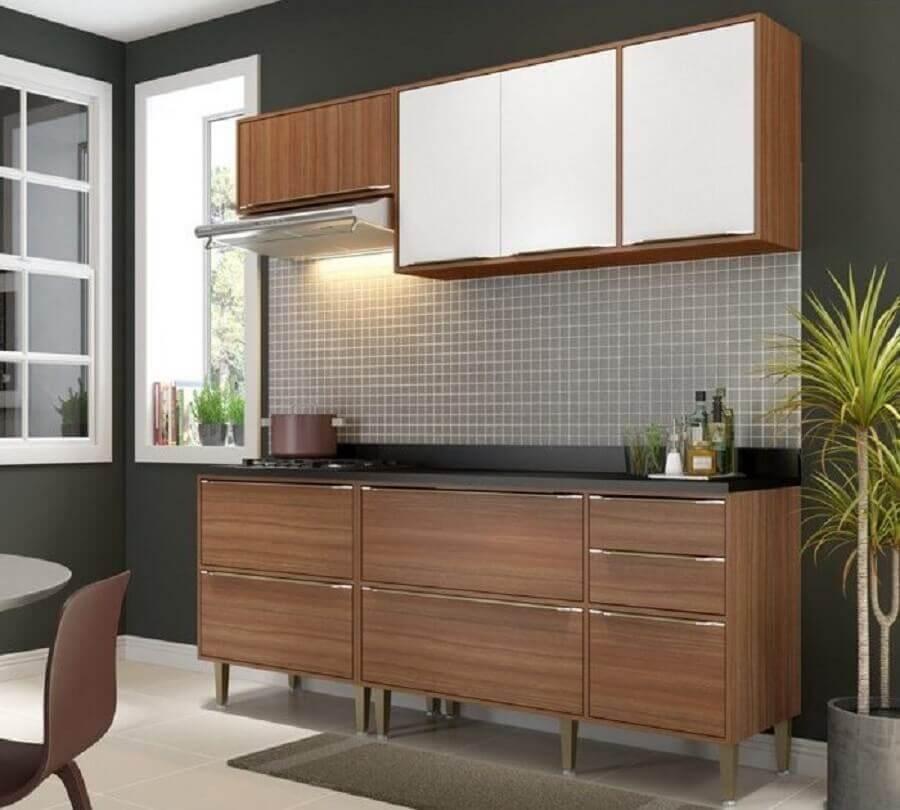 decoração simples de cozinha modulada pequena com armário aéreo branco Foto Pinterest