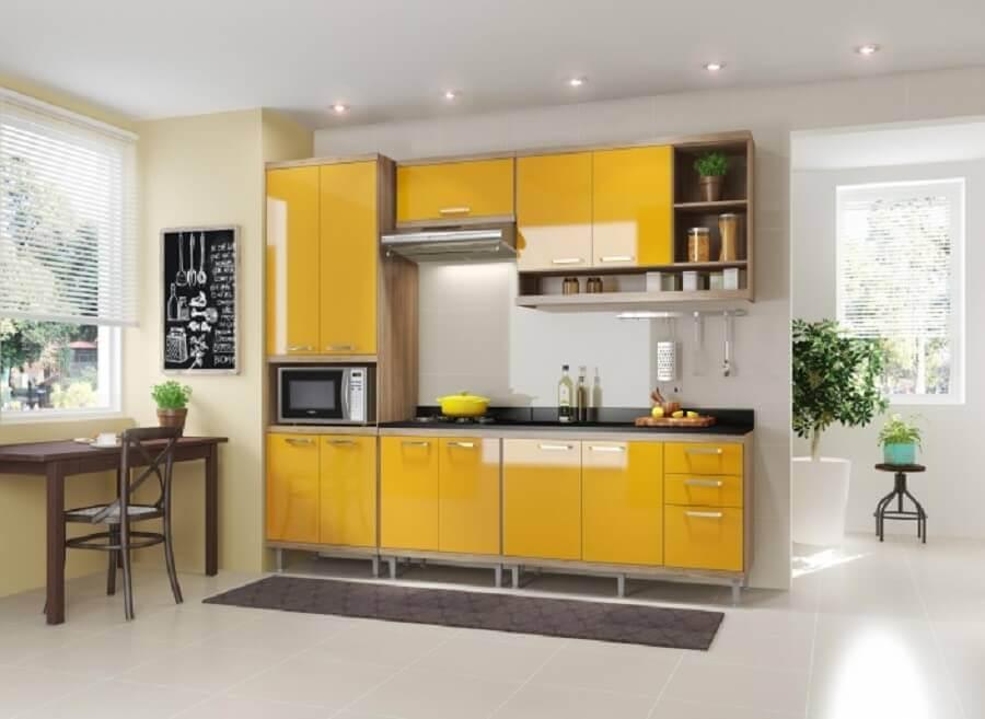decoração simples para cozinha modulada amarela Foto Pinterest
