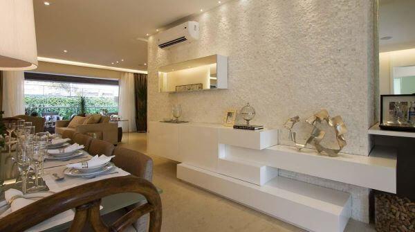 Aparador branco para sala de jantar moderna